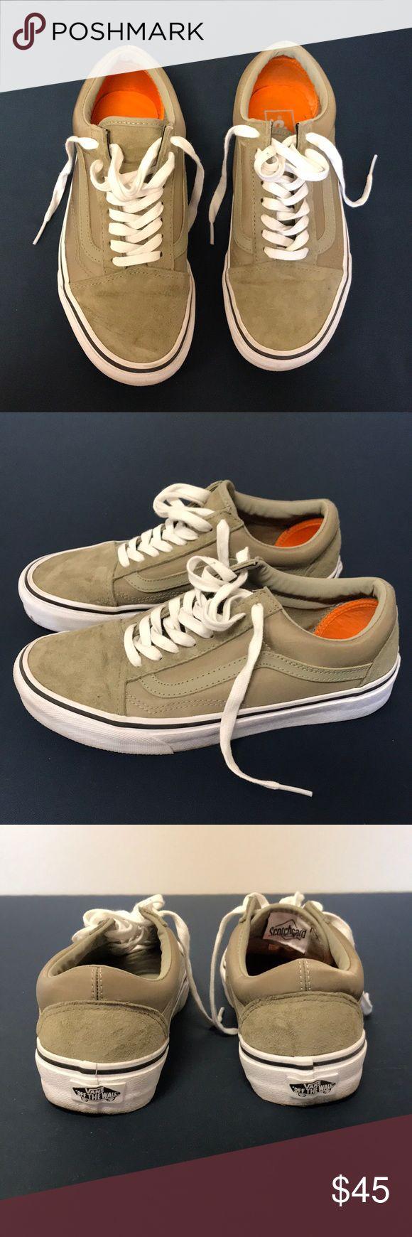 Army Green Scotchgard Old Skool Vans Water resistant. Worn twice. Vans Shoes Sneakers