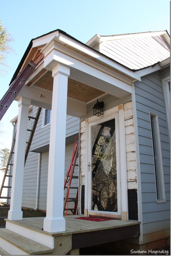 Building A Front Portico Diy House With Porch Portico