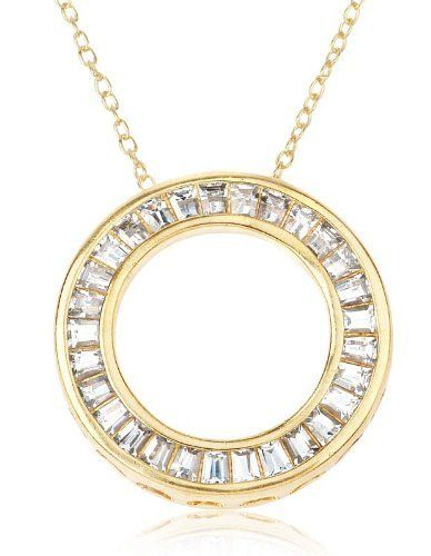 Gold Over Sterling Silver and Square Baguette-Cut Cubic Zirconia Open Circle Pendant Joolwe. $24.99. Save 48% Off!