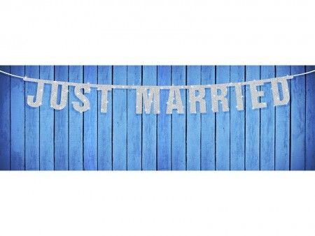 Just Married Banner Sølv