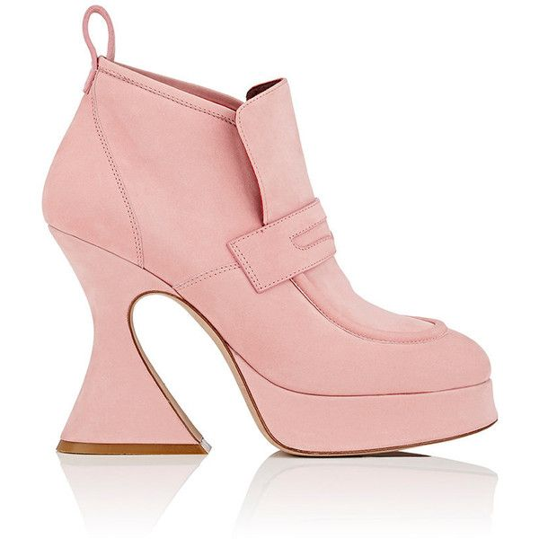 Sies Marjan Women's Ellen Nubuck Ankle Boots ($995) ❤ liked on Polyvore featuring shoes, boots, ankle booties, ankle boots, pink, platform boots, slip on boots, pink boots and high heel ankle booties