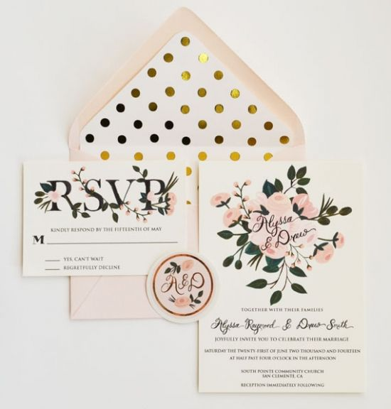 Gold and Blush Goodness by The First Snow! #weddinginvites #invitations  http://www.weddingchicks.com/2013/11/13/gold-foil-polka-dots-and-blush-posies-by-the-first-snow/