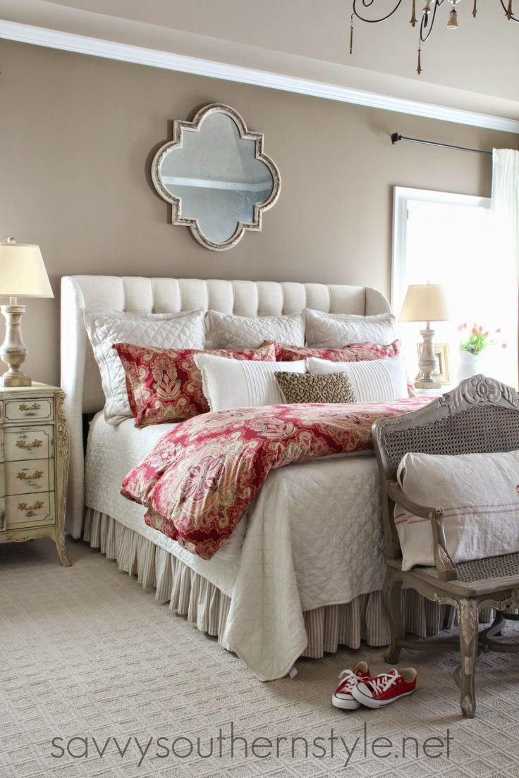French country style bedroom, Pottery Barn bedding, Restoration Hardware bedding, French style chandelier, French commode, French cane bench, upholstered headboard