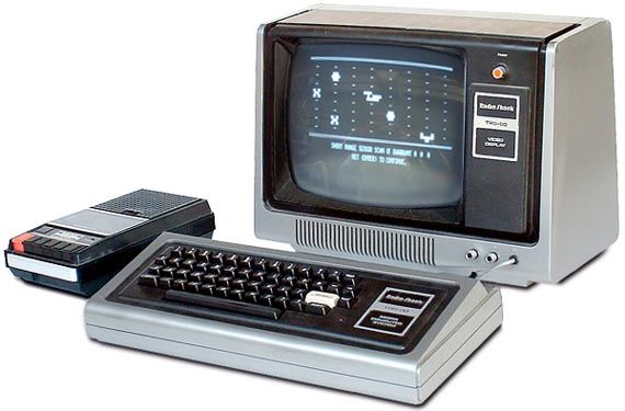 A gallery of old technology: TRS-80 Model I. Click for pictures of other old TRS-80 computers, books and software.