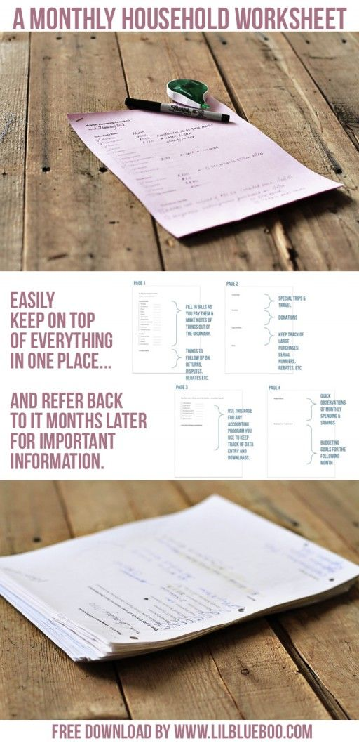A monthly Household Organization Worksheet for Finances etc. via lilblueboo.com