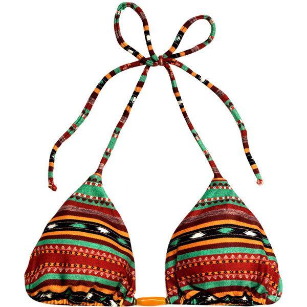 VIX Sahara tribal bikini top ($58) ❤ liked on Polyvore featuring swimwear, bikinis, bikini tops, swimsuits, swim, bathing suits, beachwear, multi, swimsuits tops and bikini top