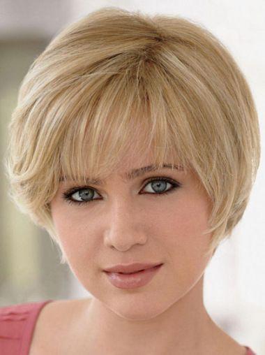 Straight Blonde Short Layered Soft Remi Human Hair Wigs