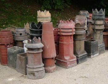 Chimney pots as garden decor