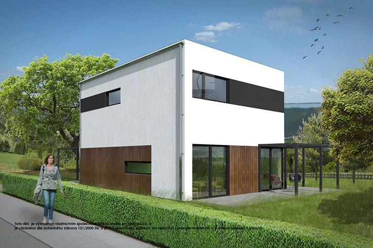 Dům je navržen v duchu moderní architektury.