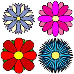 Draw flowers of four simple petal designs