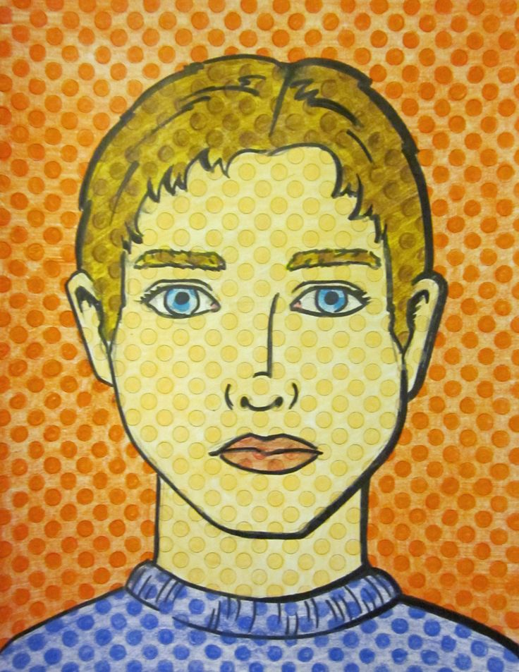 One of my teacher examples for a quick Lichtenstein Pop Art Portrait Lesson for the end of the school year. Handout has pre printed dots. They just draw, sharpie, and color.