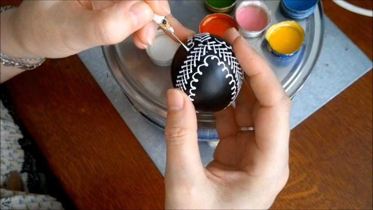 Zdobení kraslice voskovými barvami, Easter Egg Decoration with waxy colors,