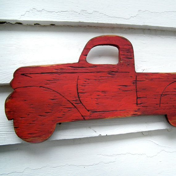 PickUp Truck Sign Wooden Vintage Style Red Wall by SlippinSouthern, $39.00