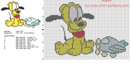Disney Baby Pluto with airplane toy free small cross stitch pattern