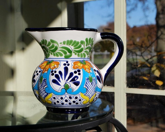 Mexican Talavera Hand Painted Ceramic Pitcher Lead Free Terra Cotta Glazed Serving Piece