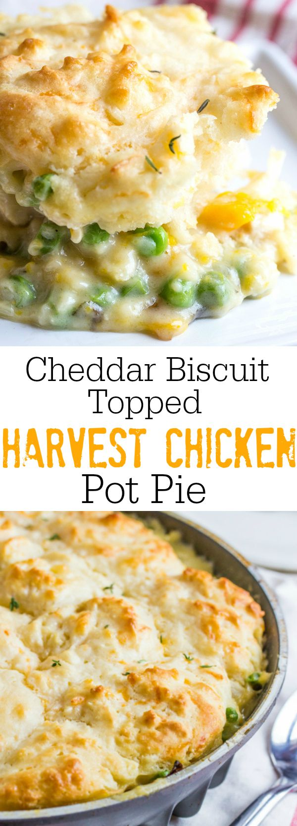 Creamy and delicious this Cheddar Biscuit Topped Harvest Chicken Pot Pie is full of hearty veggies and herbs and topped with soft and fluffy cheddar drop biscuits. @nordicware