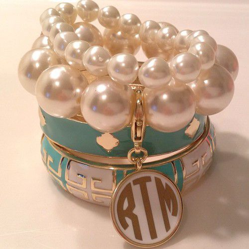 You can never go wrong with pearls and a monogram.