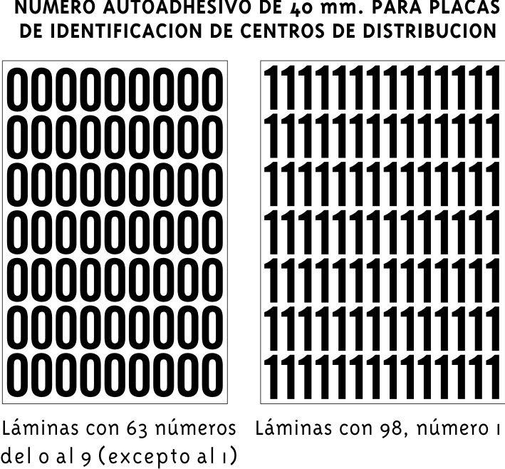 Números autoadhesivos para placas de identificación de centros de distribución