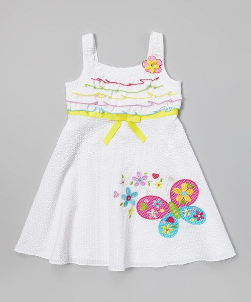 Take a look at the White Seersucker Butterfly Dress - Girls on #zulily today!
