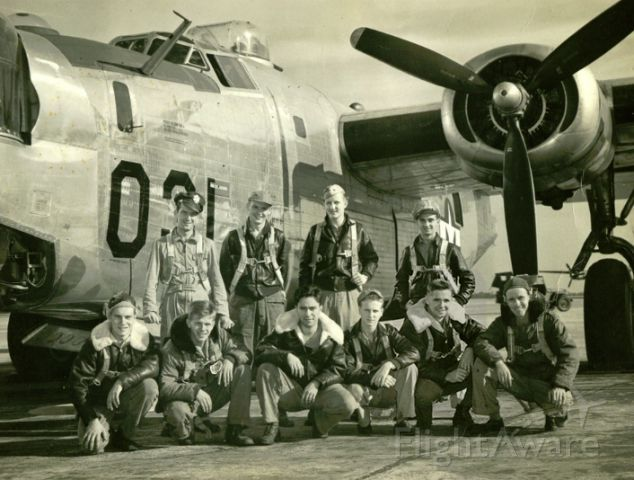 Posted with the okay from Nate P. and his uncle.<br /><br />Picture taken Mitchell Airfield NY<br /><br />Back Row: Pilot Will Graham † Copilot Al Kramer, Navigator M Gwinna * , Bombardier Benny Benicoff, Front Row: Ball Turret Mal Jennings*, Tail Turret Joe Powliski, Engineer Jim Jacks† , John Scott*, Top turret Nathaniel Crowley, Radio Bob Crow *German POW all returned after WWII<br /><br />† Killed in action over Budapest<br /><br />* German POW all returned after WWII