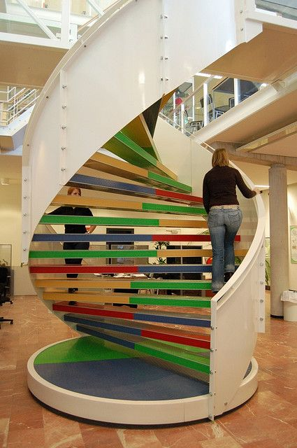 Oh em gee.  I think I would pee my pants if I saw this in person.  #nerdalert DNA stairs @ Hanze University Groningen