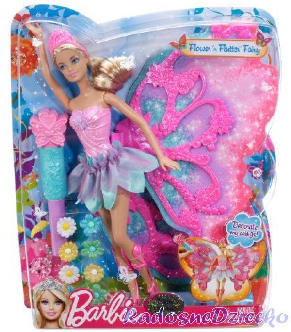 *Barbie księżniczka kwiatowa wróżka skrzydła W4469 ...