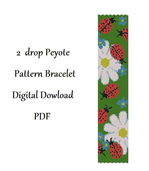 2drop Peyote Pattern Bracelet Flowers .  Instant от HoneyPear, $3.00