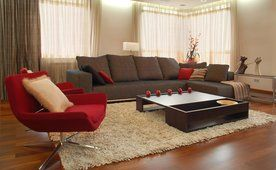 Interior design, στυλ, δωμάτιο έπιπλα, κόκκινη καρέκλα, καφέ, Καναπές, τραπέζι, μήλα, χαλί