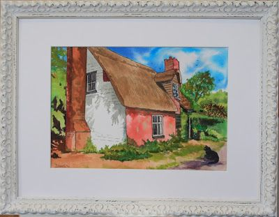 The Art of Phil Davis:  DERELICT COTTAGE WITH CAT. INK PIGMENT on PAPERFR...