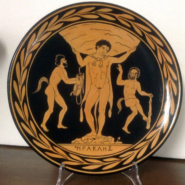 Ornamental plate handpainted from Apulian pottery. Parody of Hercules. Diameter 30cm (11.82inch).  - pinned by pin4etsy.com