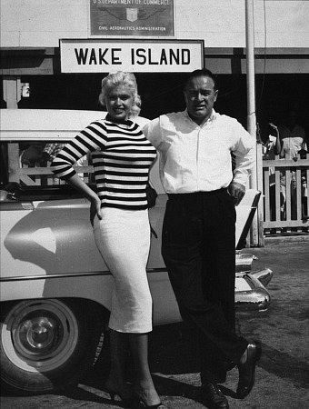 Bob Hope with Jayne Mansfield and a 1956 Plymouth station wagon during a U.S.O. Tour on Wake Island