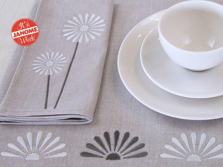 Semaine janome linge de table brod avec un design - Linge de table design ...