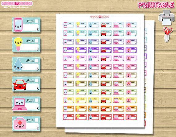 Kawaii Monthly Bills Printable Planner stickers Print por designby2