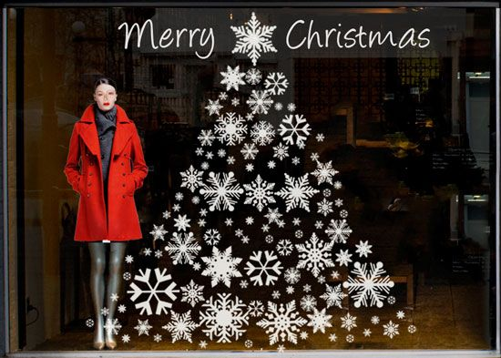 Image detail for -Christmas window display ideas using static cling snowflakes, borders ...