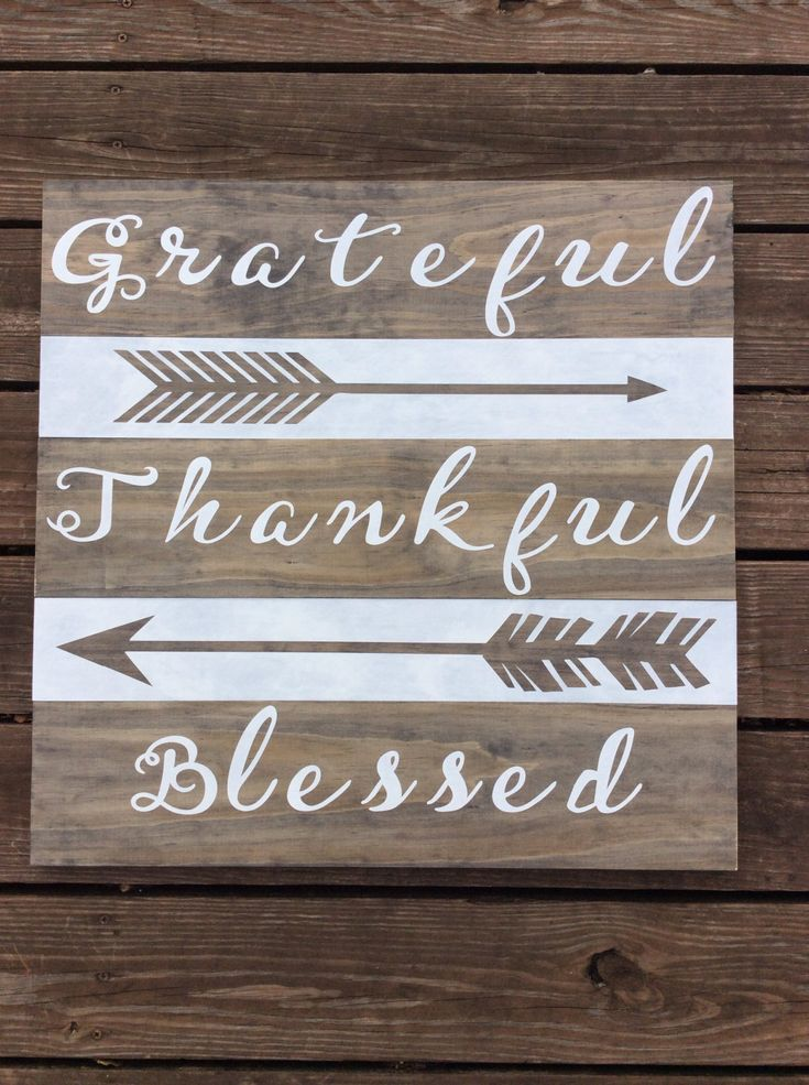 grateful thankful blessed with arrows hand painted wood plank sign - Wood Sign Design Ideas