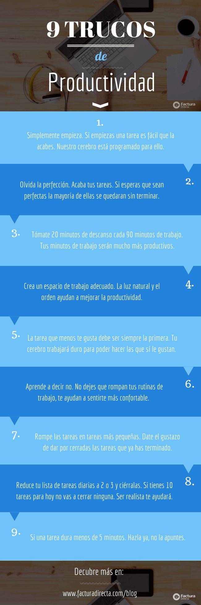 9 trucos de productividad #infografia #infographic #productividad