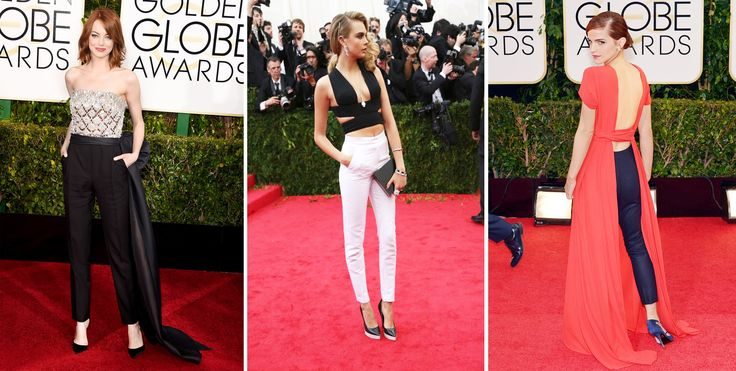 This pin is about pants victory, red carpet, Emma Stone in Lanvin, Cara Delevingne in Stella McCartney, Emma Watson in Dior