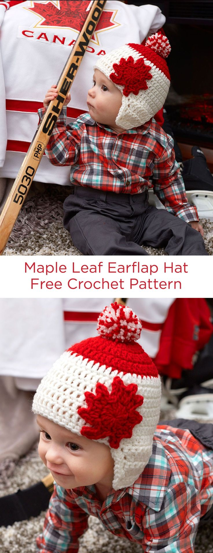 Maple Leaf Earflap Hat Free Crochet Pattern in Red Heart Yarns -- Even the youngest members of the family will be part of a Canada celebration with this crocheted hat! Pattern is for three child sizes and features a maple leaf appliqué and pompom.