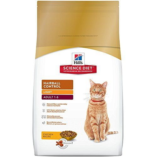 Hill's Science Diet Adult Hairball Control Light Chicken Recipe Dry Cat Food, 7 lb bag - As a cat owner, you probably already know – hairballs happen. If your cat is prone to hairballs and tends to gain weight as well, Hill's Science Diet Adult Hairball Control Light cat food can help on both counts. This reduced-calorie dry cat food for hairball control is made with a blend of natur...