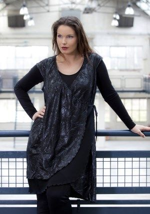 exelle, black fake-leather sleeve-less tunic with voile stroke