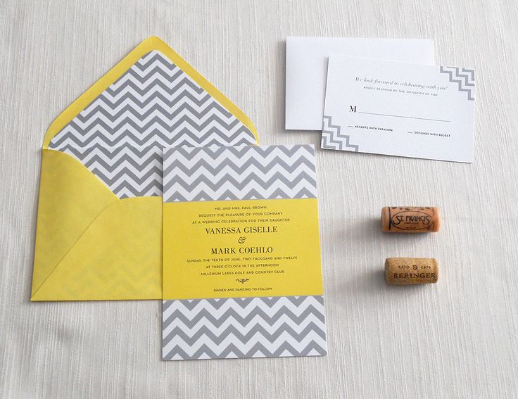 Elegant Chevron Gray And Yellow Wedding Invitation (sample). $4.00, Via Etsy.