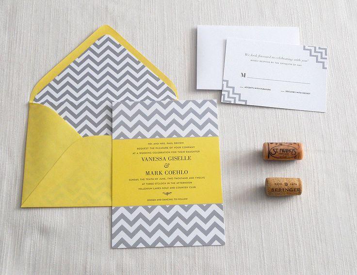 Chevron Gray and Yellow Wedding Invitation