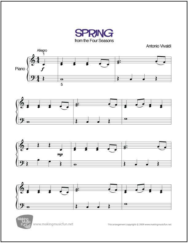 Spring (Vivaldi)   Sheet Music for Piano (Digital Print) - http://makingmusicfun.net/htm/f_printit_free_printable_sheet_music/spring-piano.htm