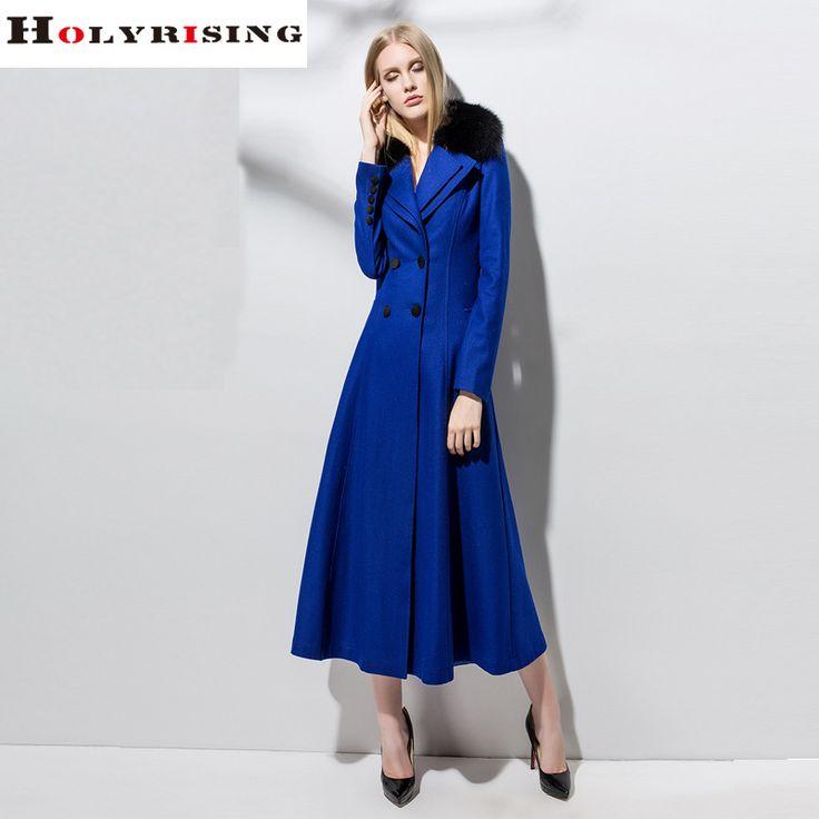 Marque de mode Vêtements Femmes Hiver Laine Manteaux Longs Double Bouton Veste Fourrure De Renard De Laine Mince Outwear Bleu Meilleure Qualité S-XXL