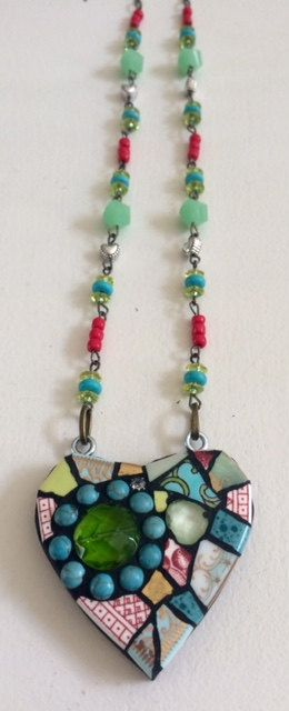 Mosaic Heart Necklace Green-Aqua Flower by mosaiccottage on Etsy