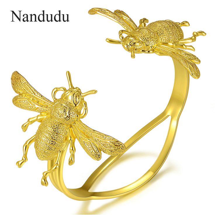 Nandudu Bee Bracelet Yellow Gold GP Women Cuff Bangle Female Bracelets Jewelry Gift R165