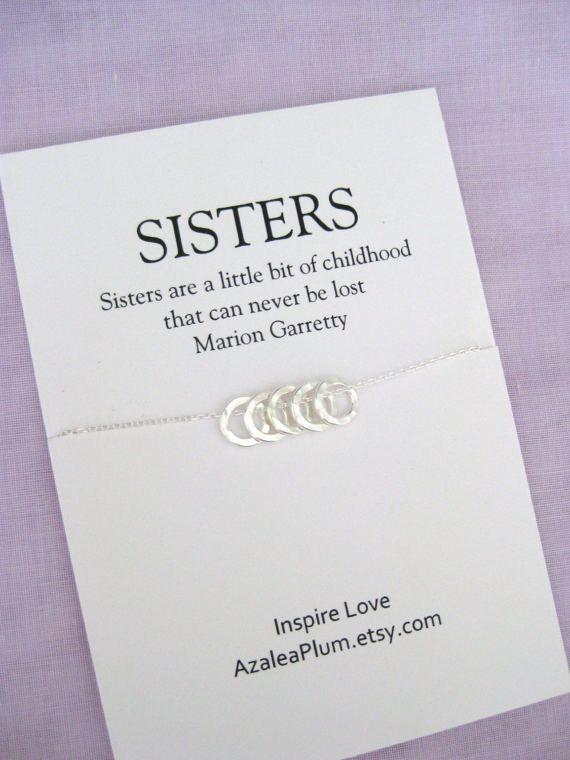 Sister Necklace Sterling Silver Gift 50th Birthday For Women Jewelry 5 Ring