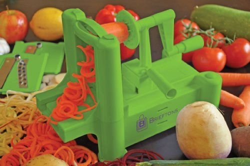 Brieftons-Tri-Blade-Spiralizer:-Vegetable-Spiral-Slicer-with-Strongest-Heaviest-Guarantee,-Lifetime-Replacement-Warranty,-Fresh-Veggie-Spaghetti-and-Pasta-Maker-for-Low-Carb-Healthy-Vegetable-Meals