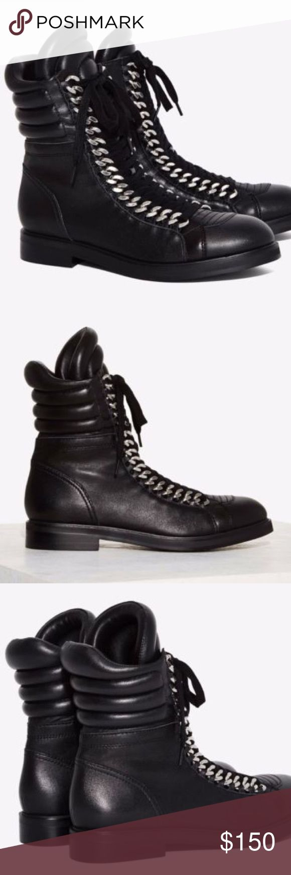 Lust for Life Oasis Black Leather Combat Boots UNWORN, smooth genuine leather high top combat boot featuring a low heel and rounded toe with padded moto style details at opening, silver metal chain accent down the front, lace-up closure, and inner side zip closure. Lust for Life Shoes Combat & Moto Boots