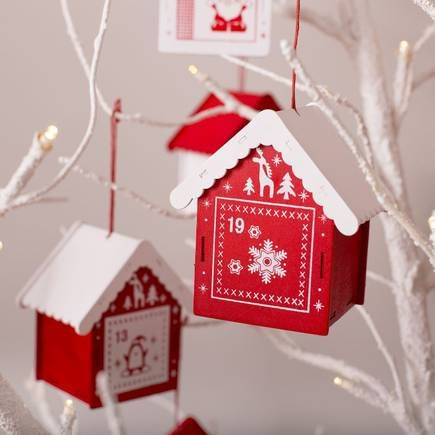 Display advent houses on White Twig Tree 104cm from Hobbycraft